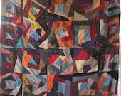 Antique VINTAGE Quilt Gorgeous CRAZY STRIP Design Textile Lovers Delight