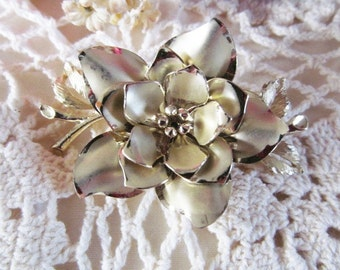 Vintage Coro Flower Brooch, Pin, Gold Tone, Signed , Costume Jewelry