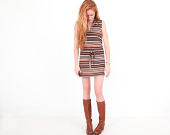 Vintage Short Dress in Brown and Burnt Orange Stripe