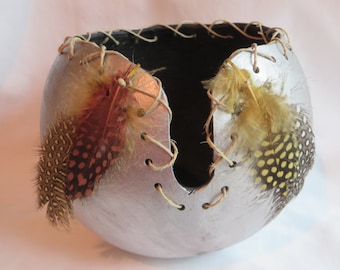 """6"""" Silver Gourd Bowl with Feathers, Gourd, Bowl, Feathers"""