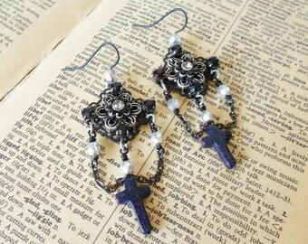 Black Cross & Rhinestones Mourning Style Earrings / OOAK