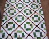 Quilt top, Quilt hanging, Green quilt top, brown quilt top, burgundy quilt top, stepping stones quilt top, quilt blocks, wall hanging