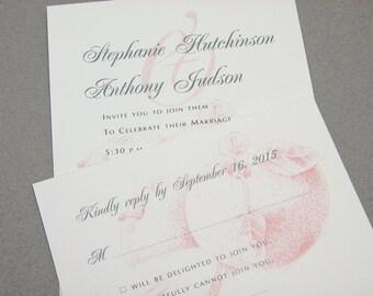 Fall Wedding Invitation Red Apples Autumn Wedding Invite Traditional Wedding Custom Invite
