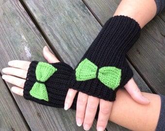 Bow Fingerless Knit Gloves