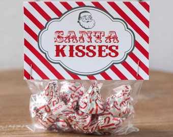 Printable Santa Kisses Treat Bag Topper: Available instantly