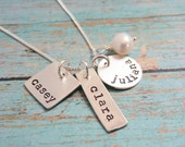 Sterling Silver Necklace Hand Stamped with Three Kids Names Mixed Shapes Disc Tag Square