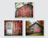 Rustic Red Barn Print or Canvas Wrap Set, Farmhouse Decor, Set of 3 Red Barns, Red Wall Art, Red Decor, Landscape Prints, Country Red Barn.