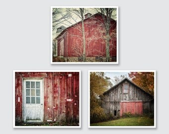 Farmhouse Decor, Red Barn Picture Set of 3 Red Barns, Rustic Home Decor Red Country Wall Art, Barn Pictures, Red Barn Canvas Art Set of 3.