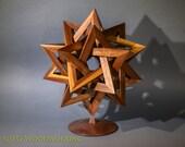 """Starburst sculpture, 12"""" x 14"""" free-standing; walnut"""