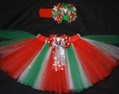 "Christmas tutu set ""Sparkly Santa"" custom made in your choice of size Newborn-4t"