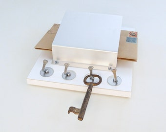 WHITE: modern white wall mounted wood mail organizer key holder storage entry hallway decor
