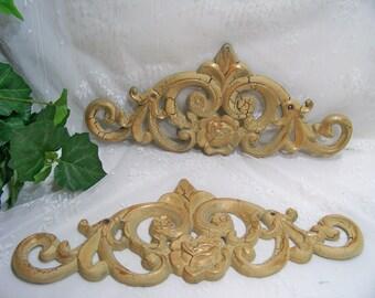 Vintage Cast Iron Fleur de Lis Accent Plaques Set of 2