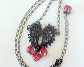 Black Heart Beauty Necklace Metal Heart Red Striped Beads Gunmetal Valentines Day FREE SHIPPING
