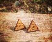 Wood Eye of Horus Stud Earrings