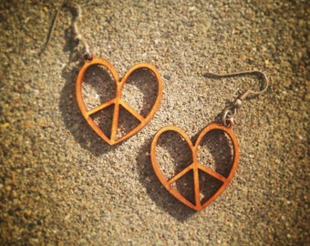 Wood Peace Heart Earrings