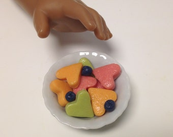 American Girl Doll Food Valentine Heart Fruit Selection Watermelon Cantaloupe Honeydew Blueberries BJD 1/3 Scale