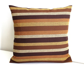 Rust Pillow Cover Brown Gold Stripe Pillow Cover Throw Pillow Cover Decorative Pillow Euro Sham 26x26 24x24 22x22 20x20 18x18 16x16