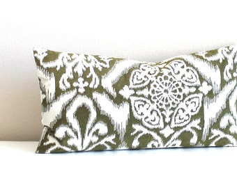 Lumbar Pillow Cover Green Pillow Cover Ikat Decorative Pillow Accent Cushion Oblong Throw Pillow Cover 12x21 12x18 12x16 10x20