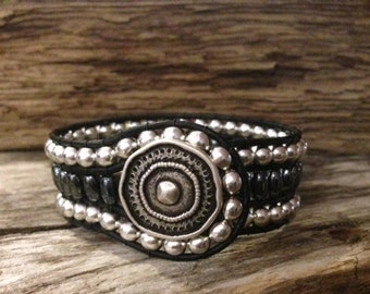 Leather Wrap Cuff Bracelet with Tibetan Silver beads and Hematite Healing beads
