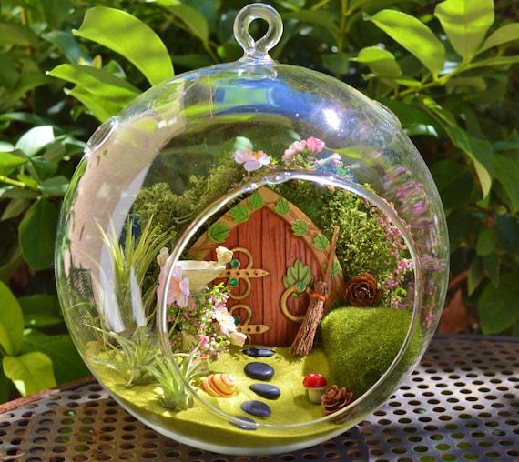 Hobbit Garden Terrarium Fairy Garden with Birdbath Wooden