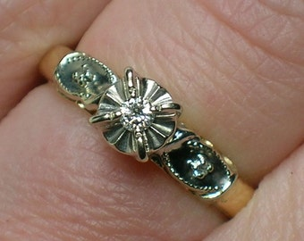 Diamond Engagement Ring, 1950s Illusion Head, 14K Two Tone, High Quality