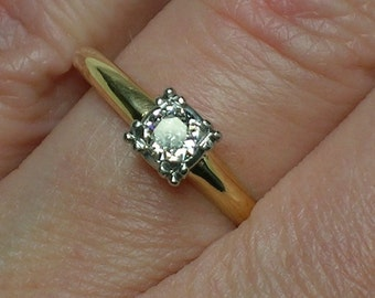 Mid Century Engagement Ring, Solitaire Euro Cut Diamond, Late Art Deco