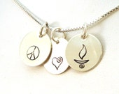Peace Love UU Chalice Necklace in Sterling Silver - Unitarian Universalist Charm Necklace