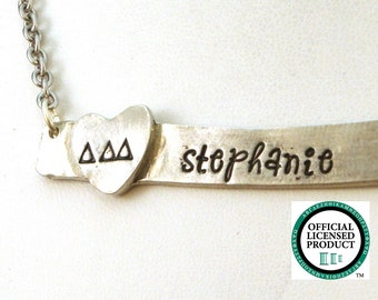Delta Delta Delta Horizontal Bar Necklace - Personalized Tri Delta Necklace - ΔΔΔ Official Licensed Product