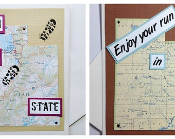 Utah - Run (or RAN) That State, Enjoy Your Run, Race, Adventure, Happy Trails Handmade Running Greeting Card - for Runners, Tri, Moving