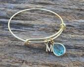 Personalized Bracelet , Bangle Bracelet , Initial Bracelet Adjustable Bangle, Bangle Bracelet, Expandable Bracelet, Bridesmaid Jewelry