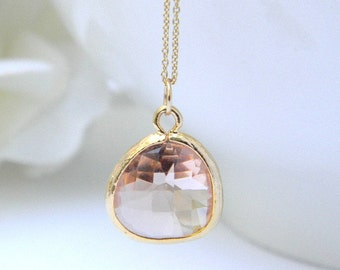 Minimalist Jewelry / Layering Necklace / Simple Pendant Necklace / Peach Necklace / Dainty Gold Necklace /  Bridesmaid Necklace / Gift