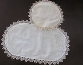 Pair of Vintage Oval and Round Doily Doilies