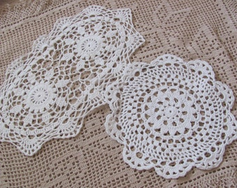 2 Assorted Lovely Antique Round Oval Crocheted Doilies