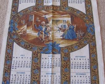Retro Calendar Irish Linen Kitchen Towel - Year 1972