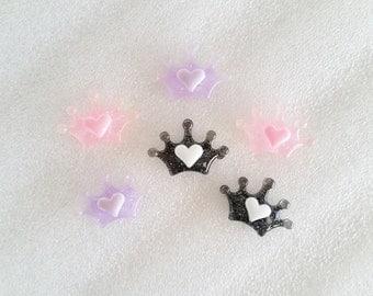 9pcs - Pretty Princess Glittery Crown Mix Decoden Cabochon (20x15mm) MS10005