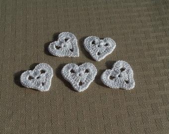 White Crocheted Applique Hearts