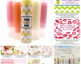 50 Custom Lip Balm -  Vegan Available - Great for Party Shower and Wedding Favors - Promotional Items - Business Card - Gift Idea - Birthday