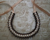 Ribbon and pearls necklace - Brown and ivory ribbon necklace with white glass pearls