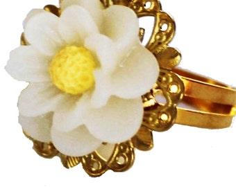 adjustable ring, Ring, flower ring, gold ring, daisy flower ring, rose ring, metal ring,