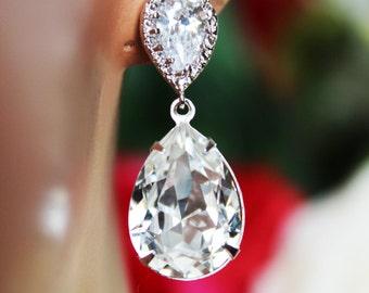 Swarovski Crystal Clear Wedding Earrings, Crystal Drop Bridal Earrings, Bridesmaid Earrings, Mother of the Bride, Bridal Accessories, Gift