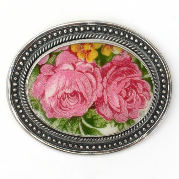 Broken China Jewelry Washington Colonial Pink Double Rose Sterling Pin Brooch