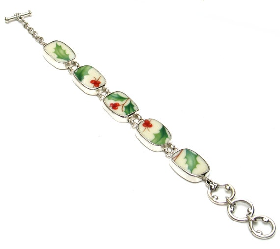 Broken China Jewelry Holiday Holly Sterling Bracelet
