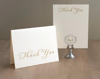 "Folded Wedding Gold Monogram Thank You Cards - ""Antique Glitter"""
