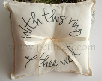 With this ring bearer IVORY pillow- custom ribbon color, simple, rustic, wedding, custom ribbon