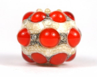 Red and Ivory Lampwork Focal Glass Bead