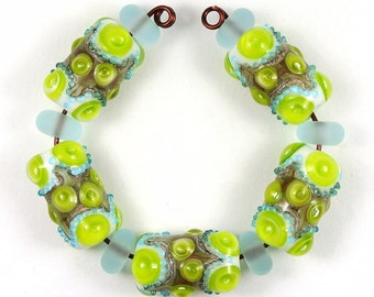 Lime Green Handmade Lampwork Bead Set