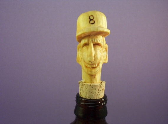 Hand carved wood bottle stopper wood carving hand made funny humorous OOAK gift for all caricature made in Wisconsin by Old Bear Woodcarving