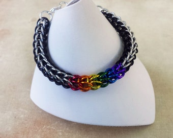 LGBT Ally Supporter Pride Bracelet - Anodized Aluminum Chainmaille Jewelry