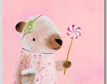 Nursery Art for Kids Room Décor - sweet teddy bear lollipop print, teddy bear animal nursery whimsical nursery Bear Painting home decor wall