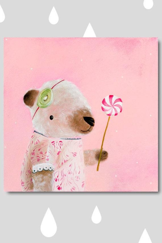 Bear Art Bear Painting Bear Print. Bear Acrylic Painting Animal Acrylic Print Bear Nursery Art Bear Acrylic Art Baby Bear Cub Art